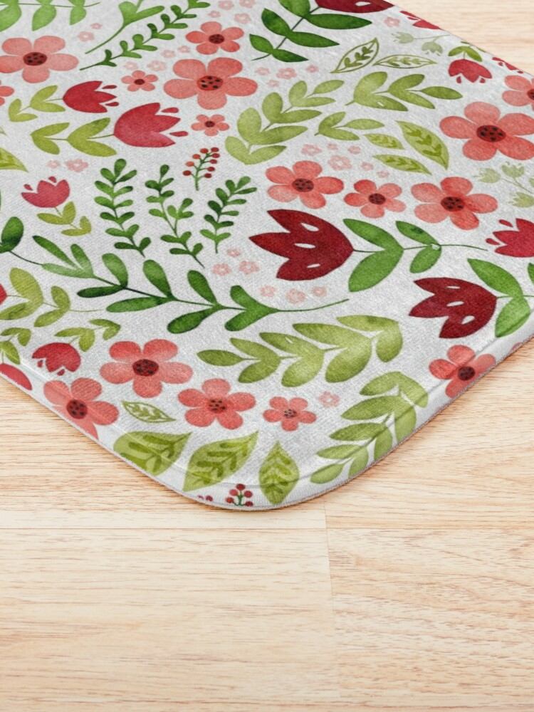Alternate view of Red and peach watercolour floral Bath Mat