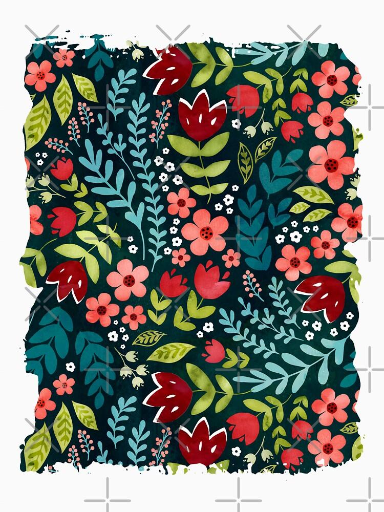 Green watercolour floral  by adenaJ
