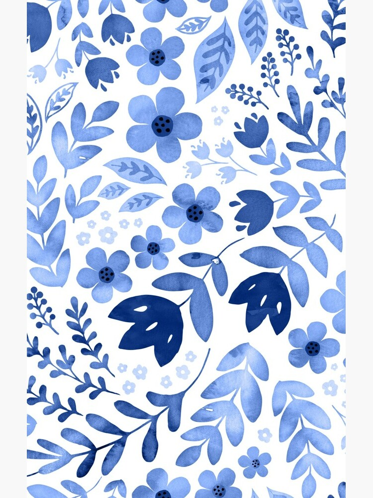 Blue watercolour floral  by adenaJ