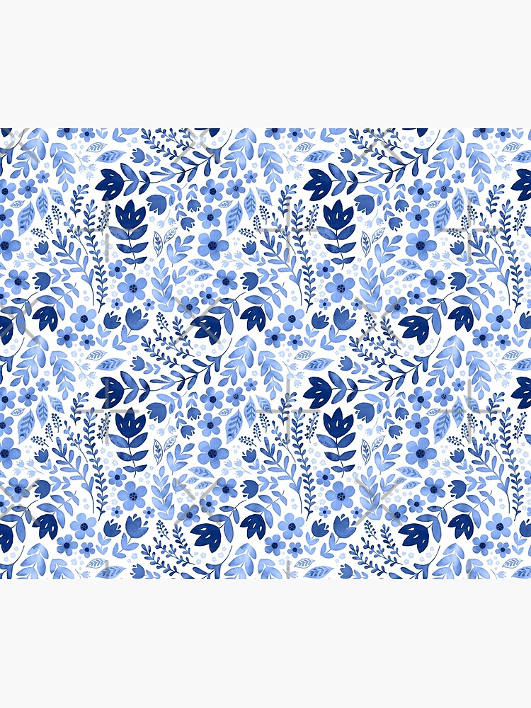 Blue watercolour floral  by adenaJ