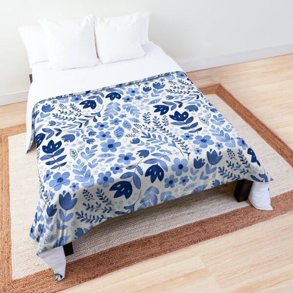 Blue watercolour floral  Comforter