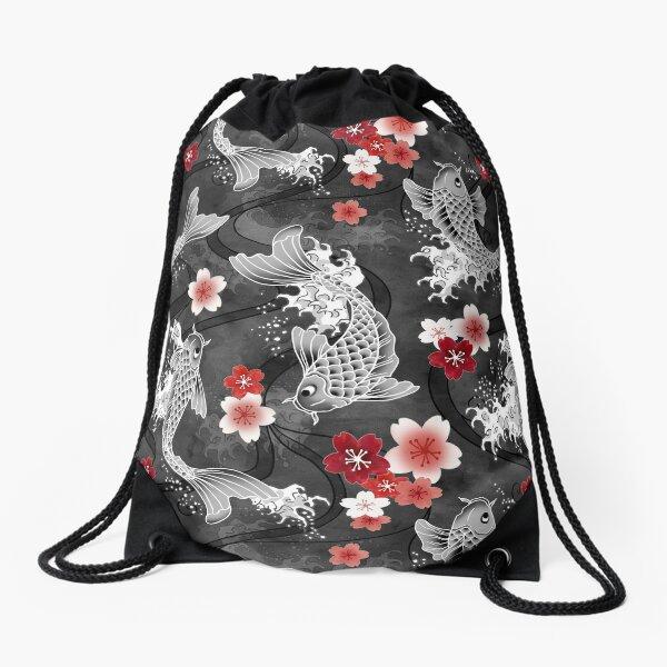 Koi sakura blossom in black Drawstring Bag