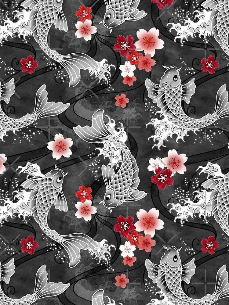 Koi sakura blossom in black by adenaJ