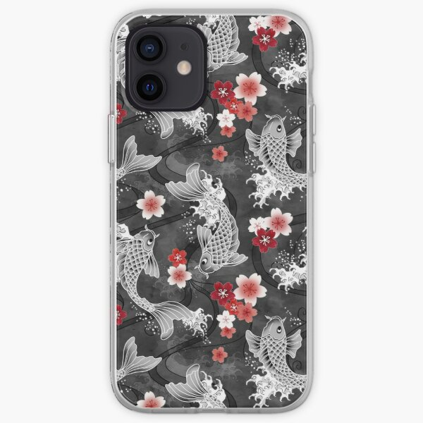 Koi sakura blossom in black iPhone Soft Case
