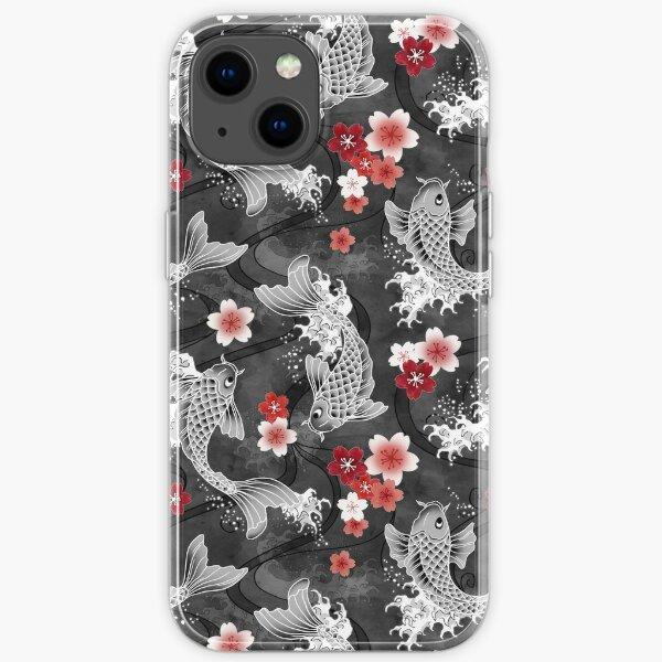 Koi sakura blossom in black iPhone Soft Case