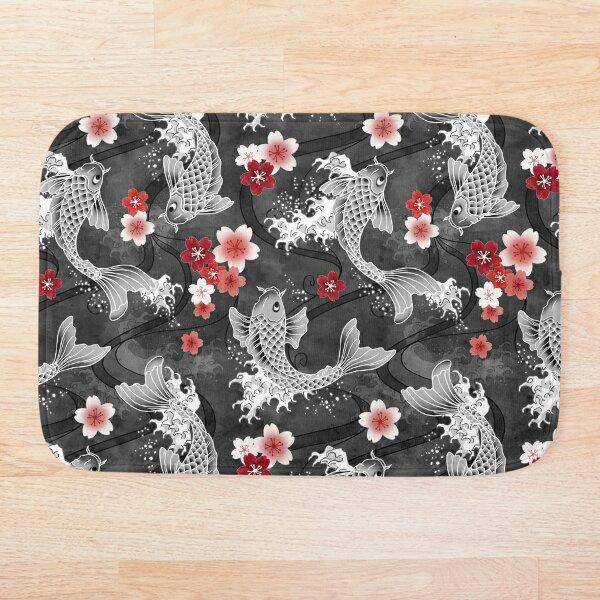 Koi sakura blossom in black Bath Mat