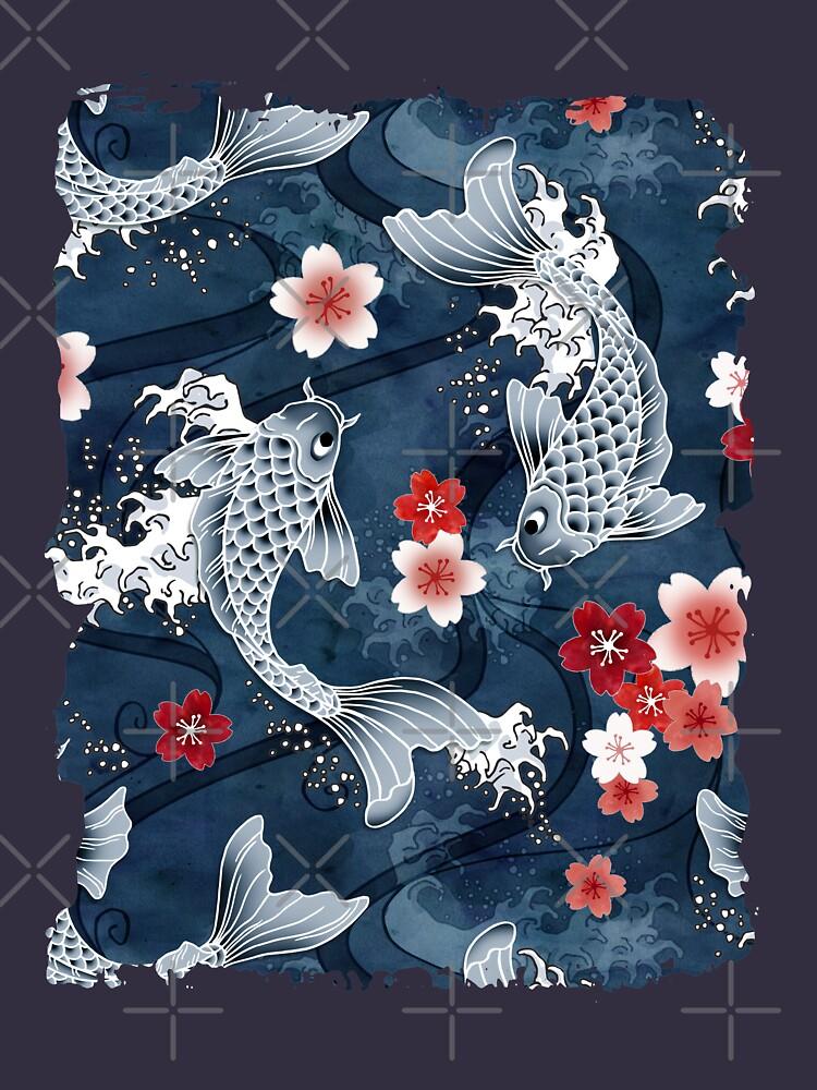 Flor de Koi Sakura en azul de adenaJ