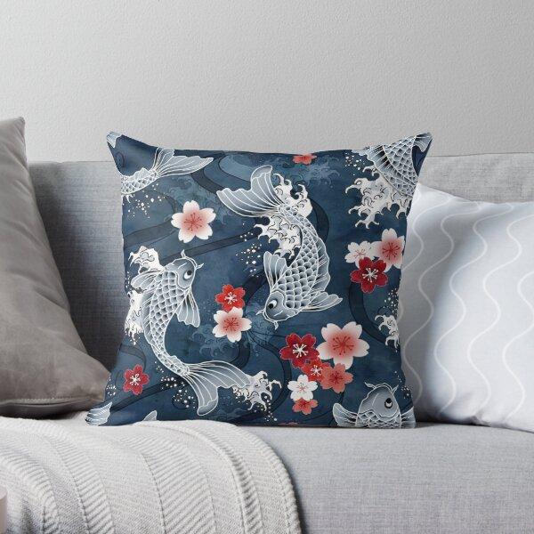 Koi sakura blossom in blue Throw Pillow