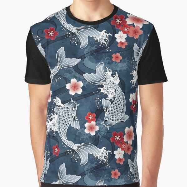 Koi sakura blossom in blue Graphic T-Shirt