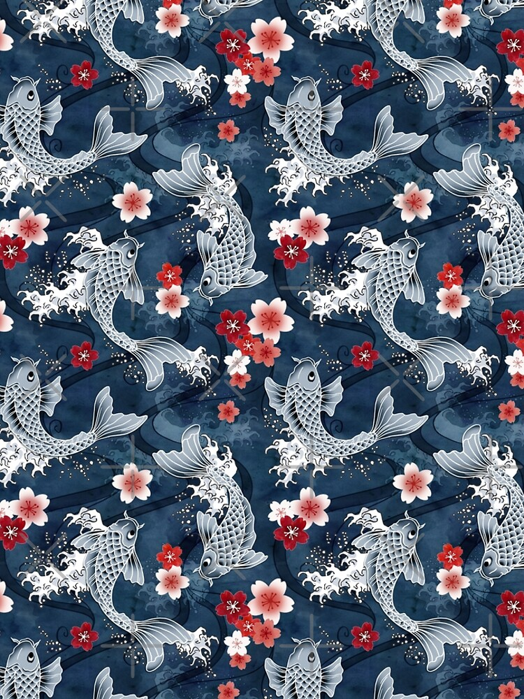Koi sakura blossom in blue by adenaJ