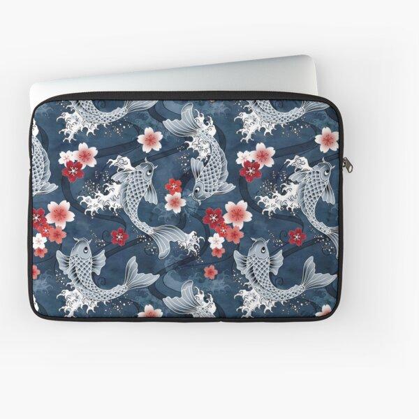 Koi sakura blossom in blue Laptop Sleeve