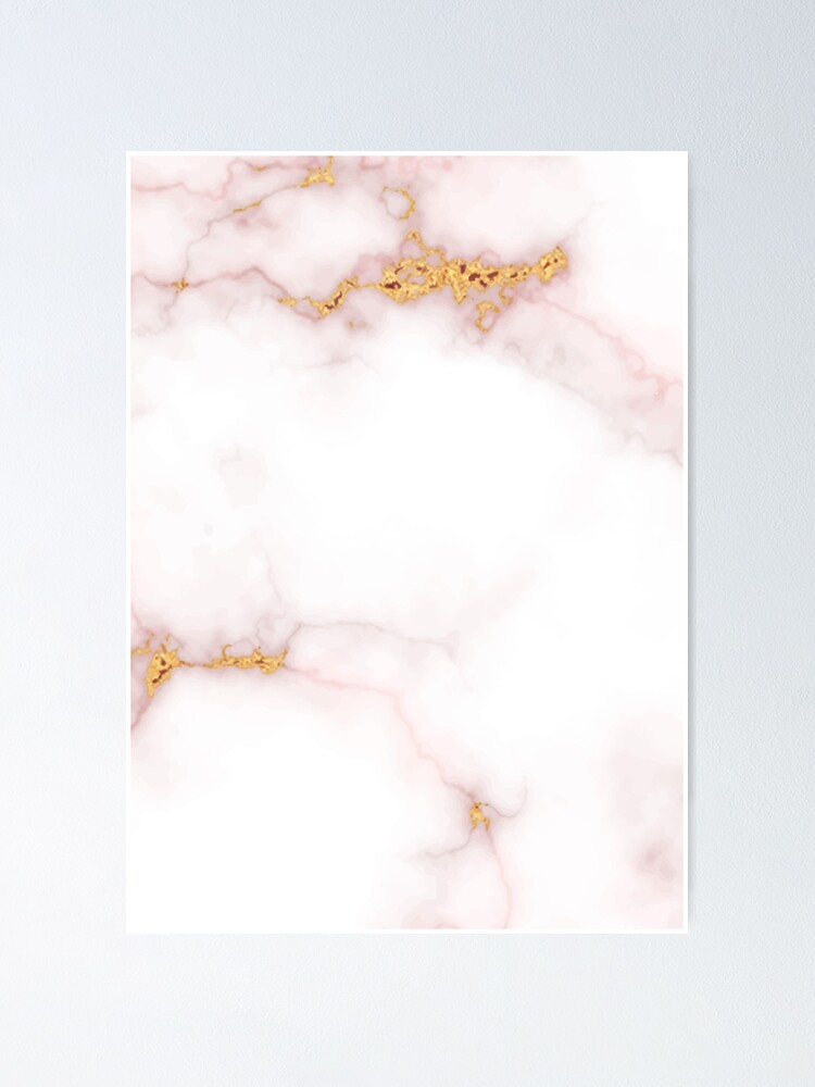 Pink And White Marble Texture With Gold Intrusions Pale Rose Background Hd High Quality Online Store Poster By Iresist Redbubble