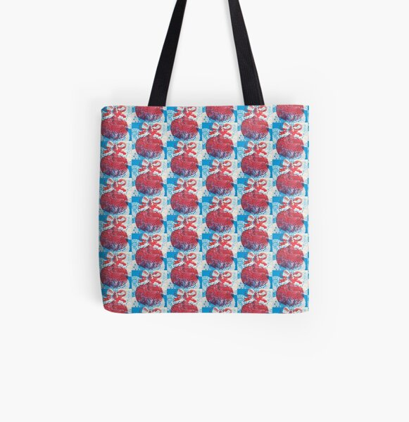 Red bauble on blue All Over Print Tote Bag