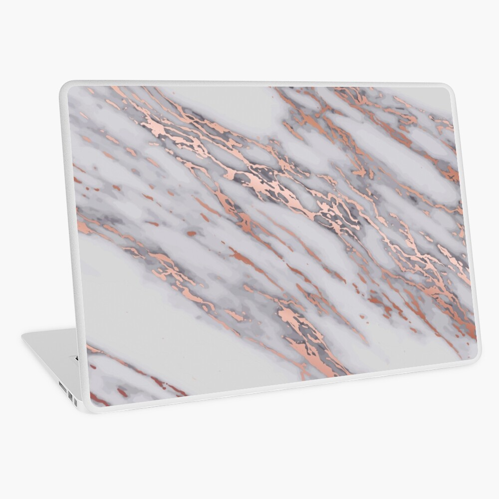 Rose Gold Metallic Pink Intrusions On Gray White Marble Texture Pastel Grey Background Hd High Quality Online Store Laptop Skin By Iresist Redbubble