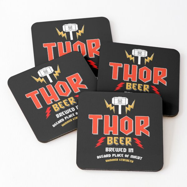 Thor Beer - Thor Fat - Thor Hammer -  Thor Axe Hammer - Thor Gifts - Thor Brother - Thor Dad - Thor Stag - Thor Bar -Thor Stormbreaker Coasters (Set of 4)