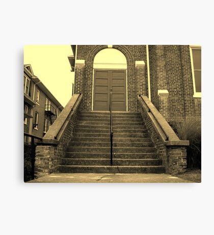 Ex-Church Steps and Entrance Canvas Print