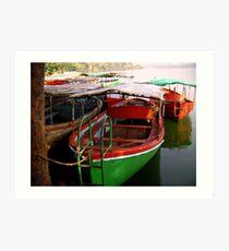 Boats near Mahabaleshwar Art Print