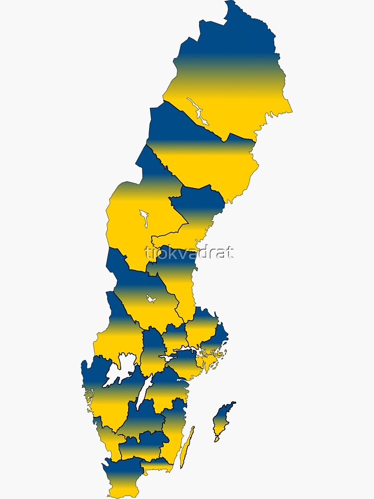 Sveriges Län - Sweden's Counties in the National Colors by tiokvadrat