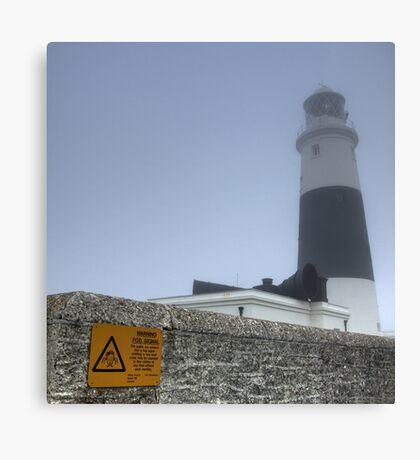 Alderney Lighthouse in the Fog. The Fog Horn is to be Finally Silenced Canvas Print