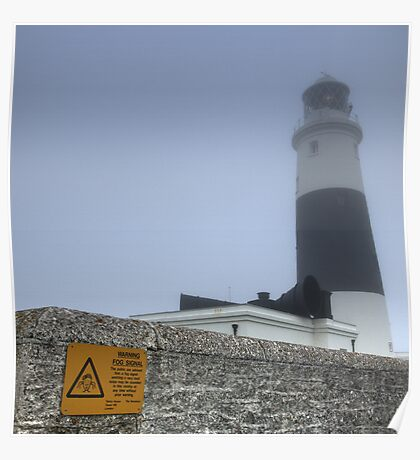 Alderney Lighthouse in the Fog. The Fog Horn is to be Finally Silenced Poster