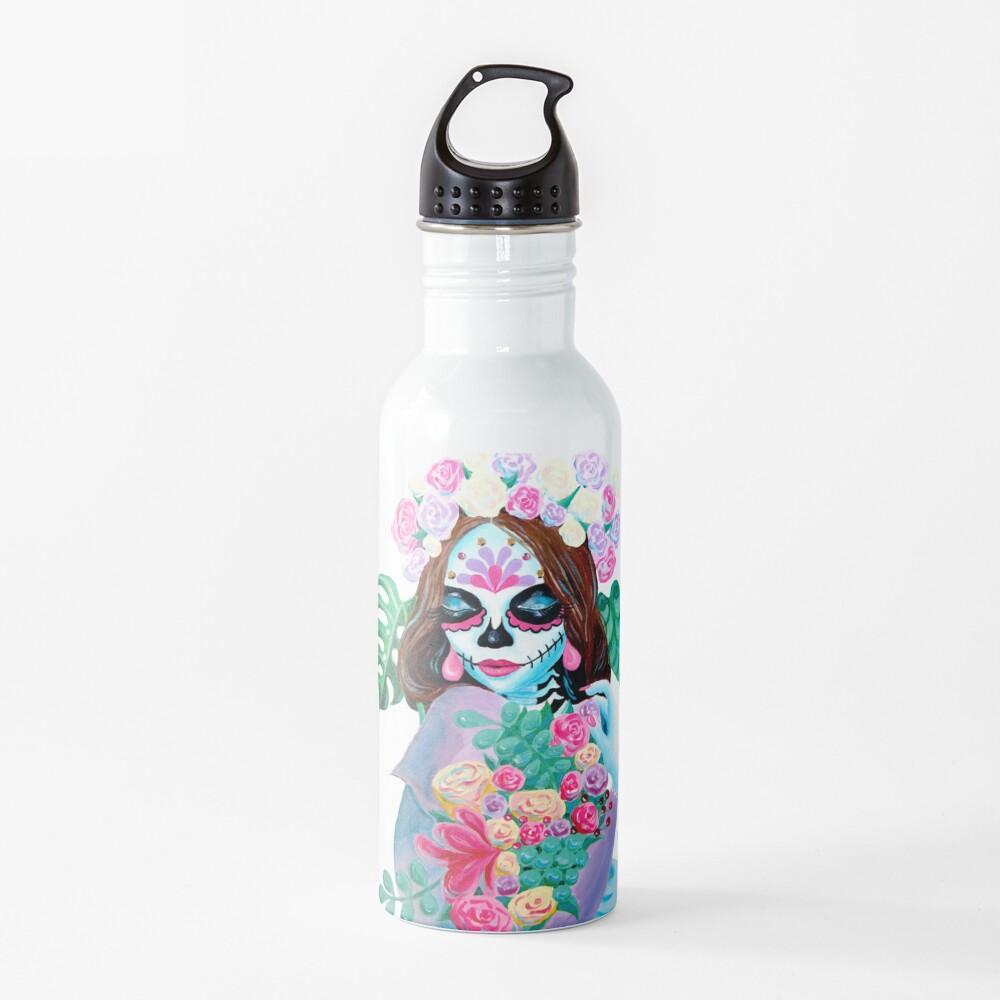 Sugar Skull Girl with Flowers - La Catrina   Water Bottle