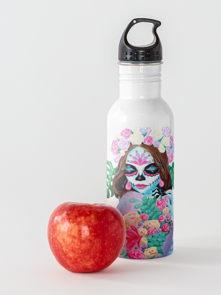 Alternate view of Sugar Skull Girl with Flowers - La Catrina   Water Bottle