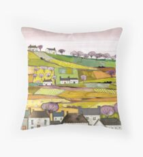 Countryside Village Landscape Throw Pillow