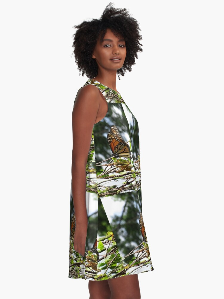 Alternate view of Monarch butterfly before flying in search of sun By Yannis Lobaina A-Line Dress