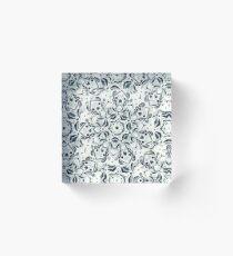 Stained Glass Mandala - Navy & White  Acrylic Block