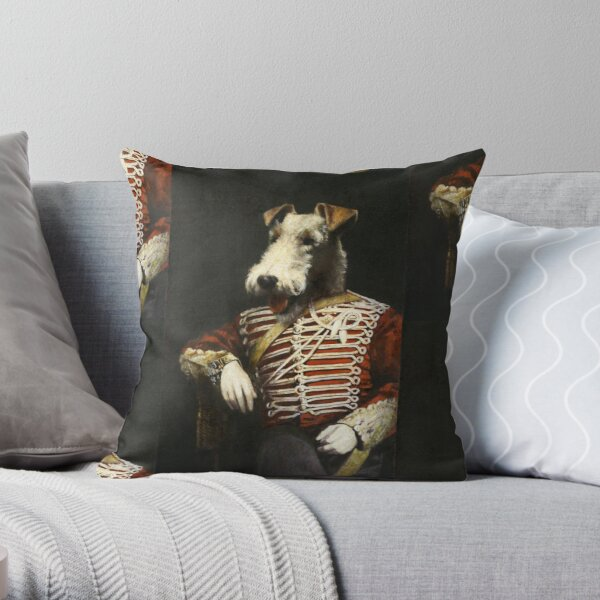 Victorian Fox Terrier In Uniform Throw Pillow