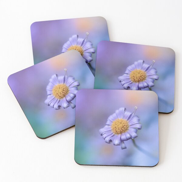 Colorful purple flower macro with dreamy colorful background Coasters (Set of 4)