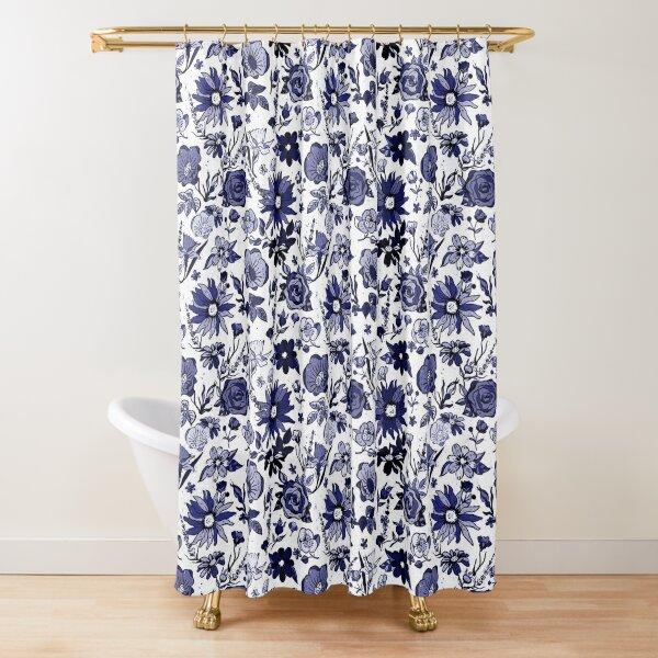 Navy Blue & White China Chintz Shower Curtain