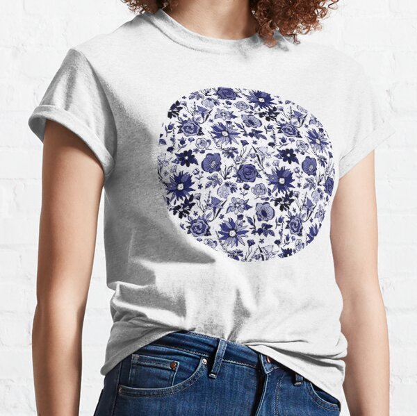 Navy Blue & White China Chintz Classic T-Shirt