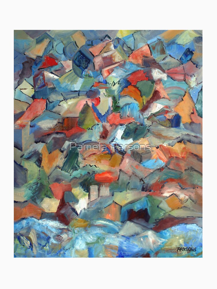 Mountain and Sea. From palette knife abstract expressionist oil painting by Pamela Parsons by parsonsp