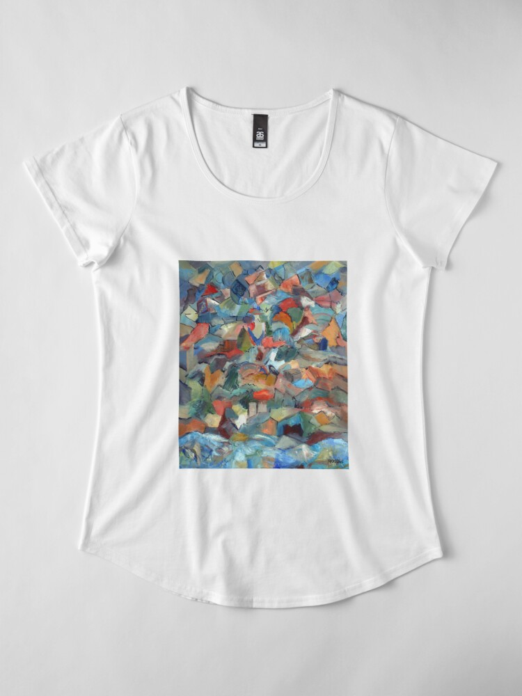 Alternate view of Mountain and Sea. From palette knife abstract expressionist oil painting by Pamela Parsons Premium Scoop T-Shirt