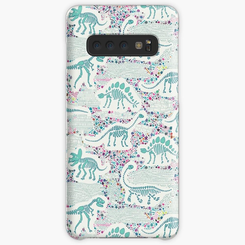 Dinosaur Fossils - aqua on white - Fun graphic pattern by Cecca Designs Case & Skin for Samsung Galaxy