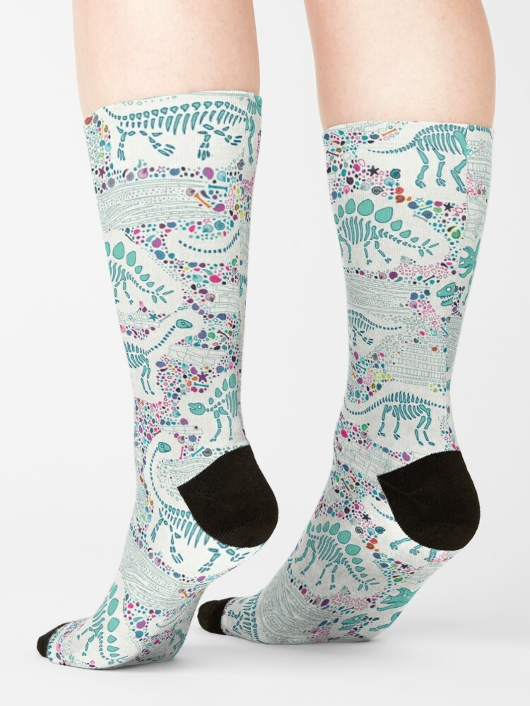 Alternate view of Dinosaur Fossils - aqua on white - Fun graphic pattern by Cecca Designs Socks