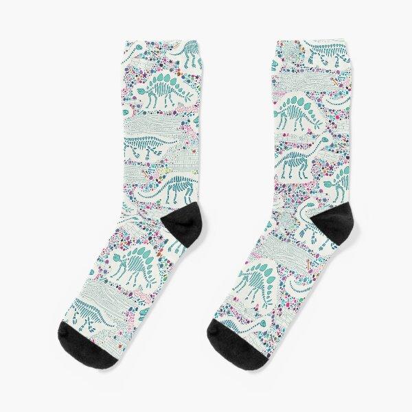 Dinosaur Fossils - aqua on white - Fun graphic pattern by Cecca Designs Socks