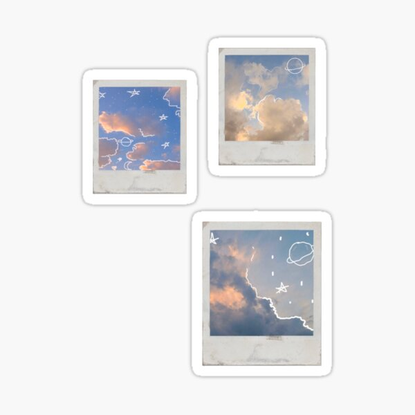 Pack autocollants polaroid Doodle sky Sticker