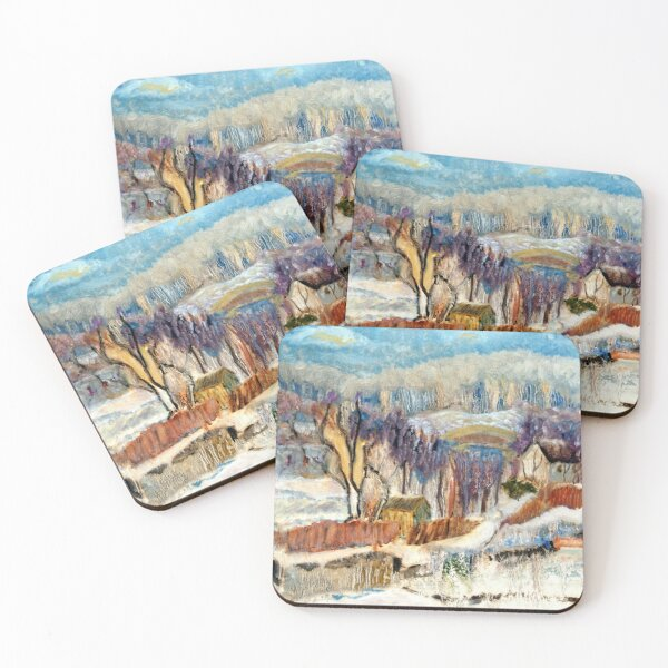 Snowscape. Expressionist oil painting by Pamela Parsons. Winter Landscape. Bucks County, Delaware Rivertown, Pennsylvania. Coasters (Set of 4)