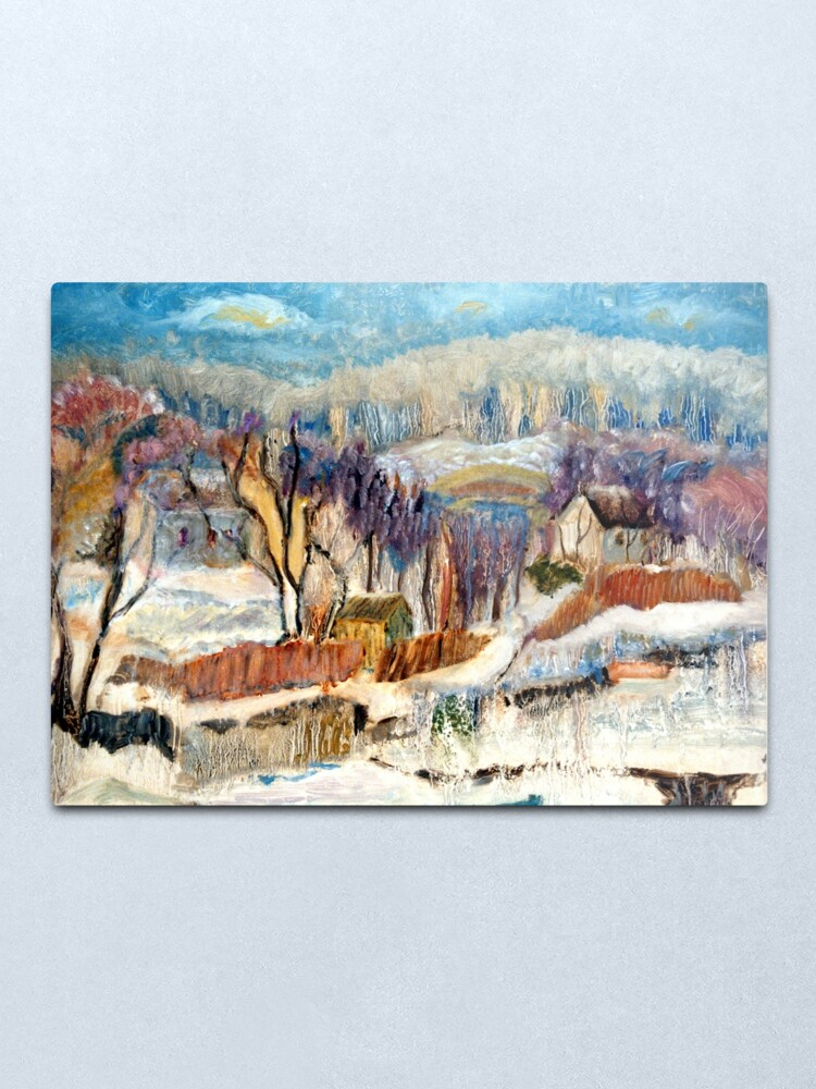 Alternate view of Snowscape. Expressionist oil painting by Pamela Parsons. Winter Landscape. Bucks County, Delaware Rivertown, Pennsylvania. Metal Print
