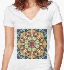 abstract red star hand drawn and  kaleidoscope mandala Women's Fitted V-Neck T-Shirt