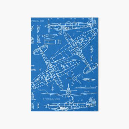 Spitfire Concept Blueprints Art Board Print