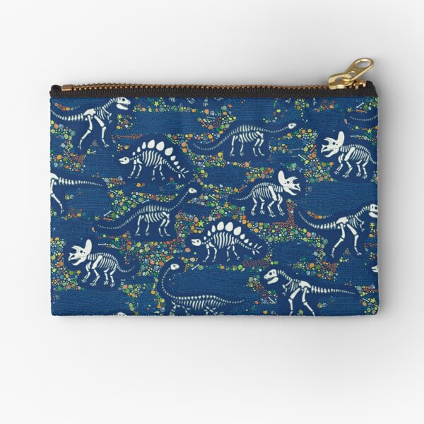 Dinosaur Fossils - Blue - Fun graphic pattern by Cecca Designs Zipper Pouch