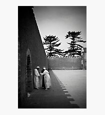 Conversation in a Town Square Photographic Print