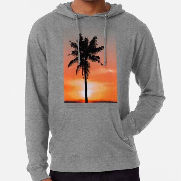 All She Does is Beach Funny Humor Relax Palm Trees Ocean Sunset Hoodies for Men
