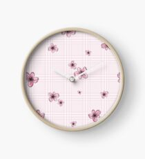 Pretty Blossom on Pink and White Checkered Background Clock