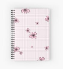 Pretty Blossom on Pink and White Checkered Background Spiral Notebook