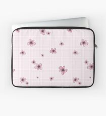 Pretty Blossom on Pink and White Checkered Background Laptop Sleeve