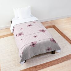 Pretty Blossom on Pink and White Checkered Background Comforter
